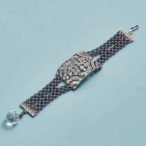 Vintage Rhinestone Shoe Buckle and Chainmail Bracelet