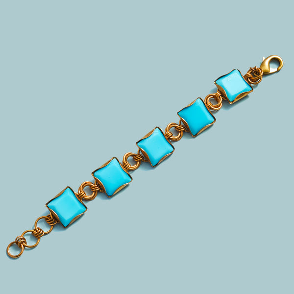 Vintage Turquoise Milk Glass Button Bracelet