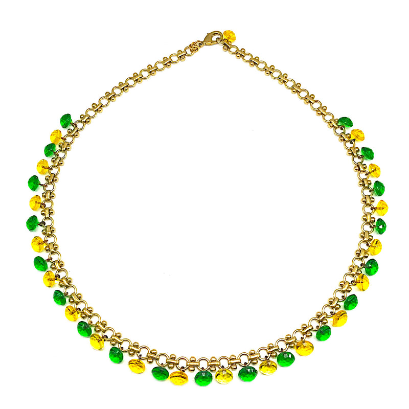 Green and Yellow Vintage Tiny Glass Buttons Necklace