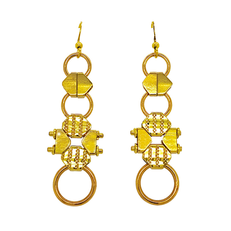Vintage Gold-Plated Pocket Watch Chain Earrings