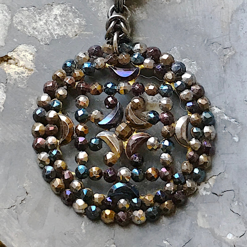 Antique Cut Steel Button and Chainmaille Necklace