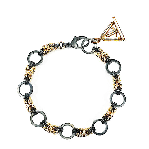 Black and Gold Chainmaille Bracelet with Antique Fob