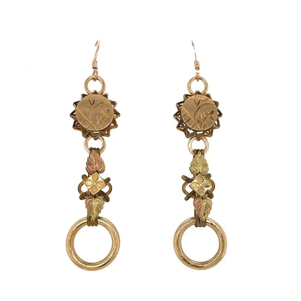 Antique Book Chain Earrings with Yellow and Rose Gold-Filled Links