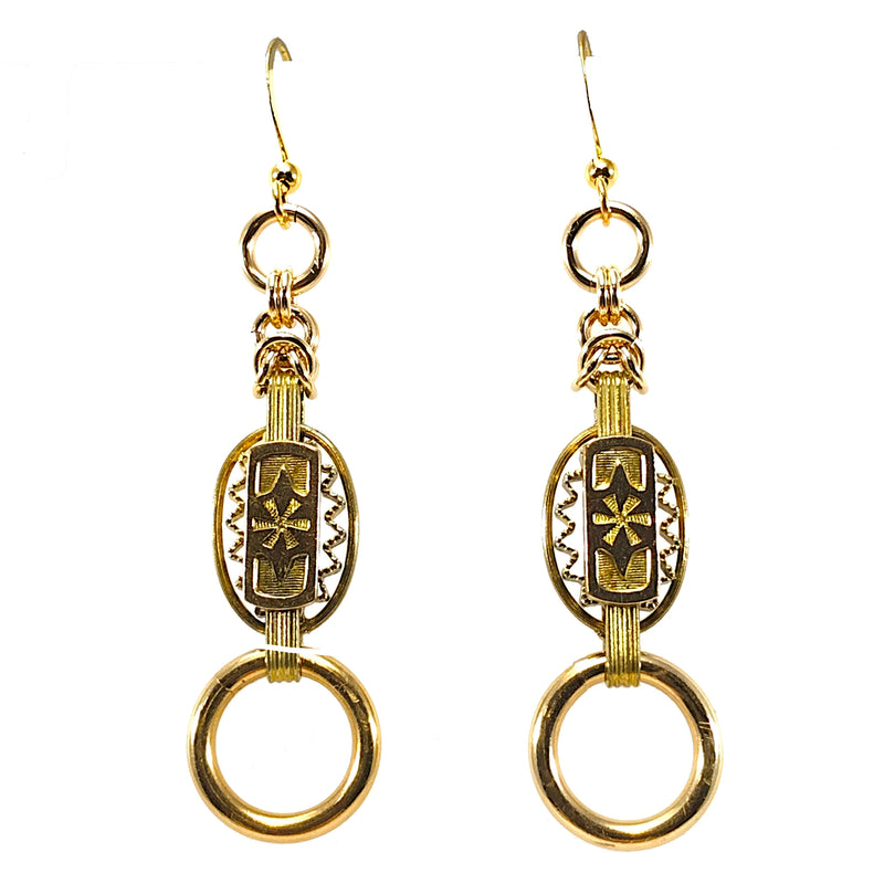Antique Book Chain Earrings With Gold-Filled Jump Rings