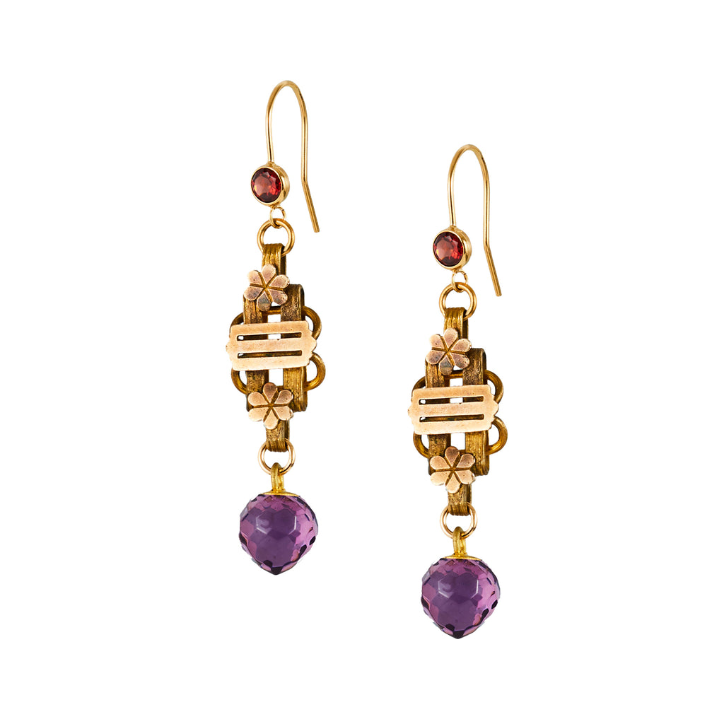 Antique Book Chain and Amethyst Glass Button Earrings