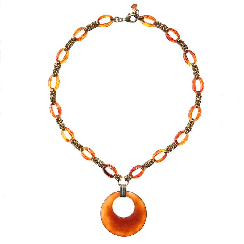 Vintage Carnelian Necklace with Handwoven Chainmaille and Lucite Links