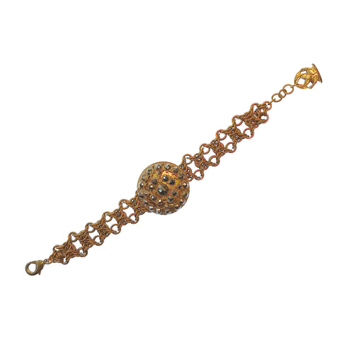 Antique Button and Brass Chainmaille Bracelet