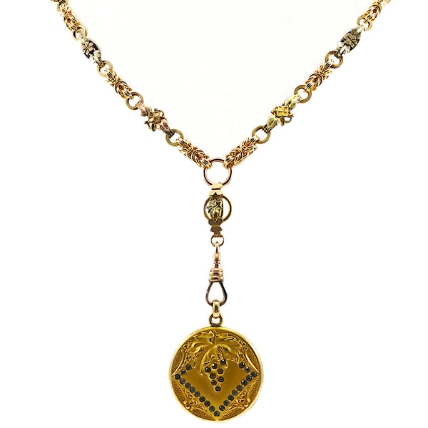 Antique Pendant with Handwoven Gold-Filled Chainmaille