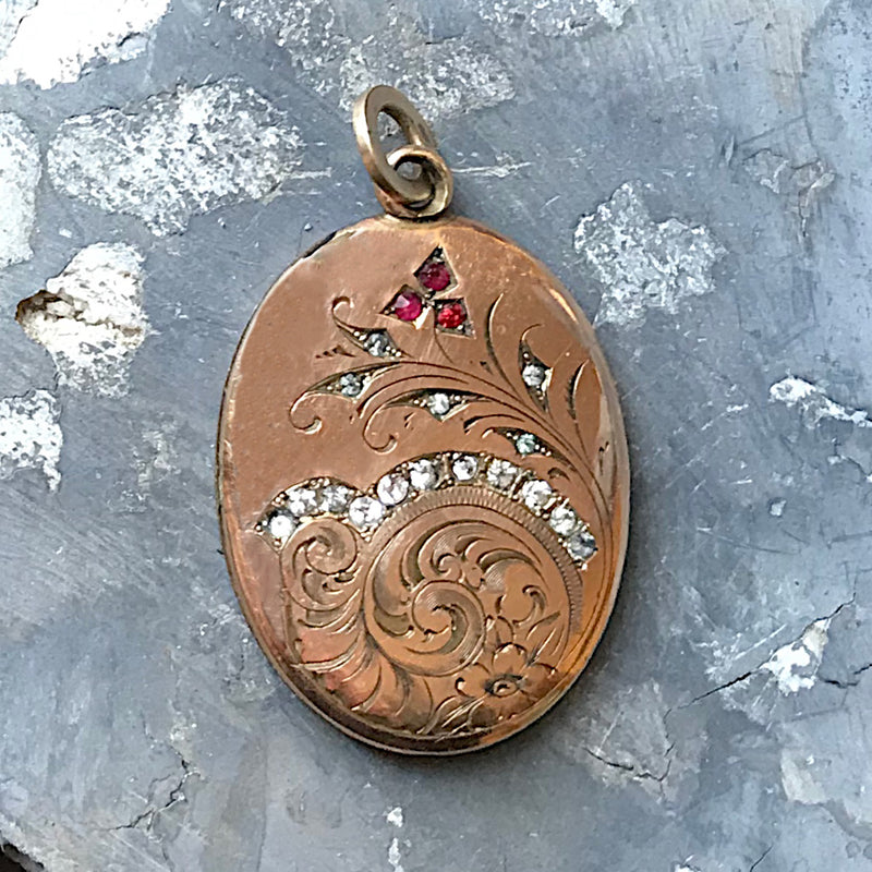 Antique Etched Oval Locket