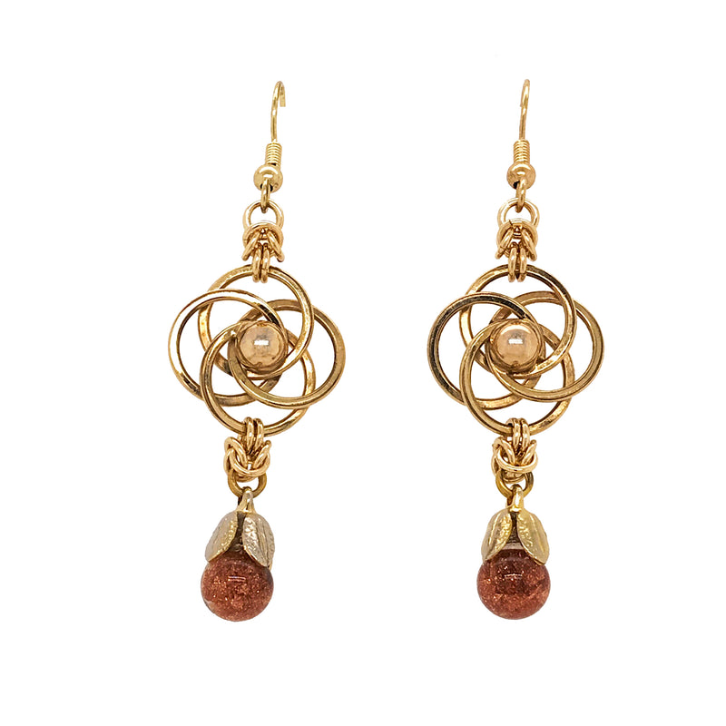 Gold-Filled Love Knots and Floating Goldstone Earrings