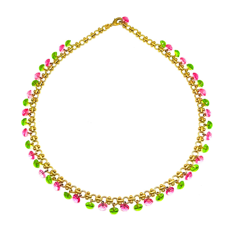 Pink and Green Vintage Glass Tiny Buttons Necklace