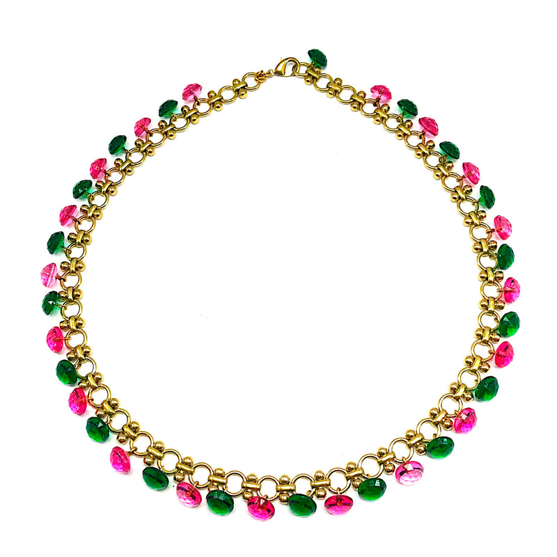 Pink and Green Vintage Glass Buttons Necklace