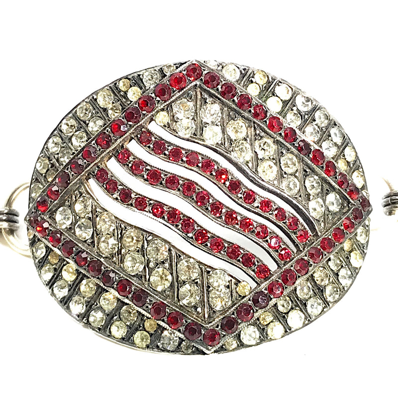 Vintage Red and White Rhinestone Buckle Bracelet