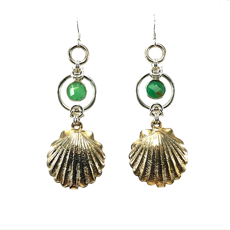 Vintage Shell Earrings with Chrysoprase