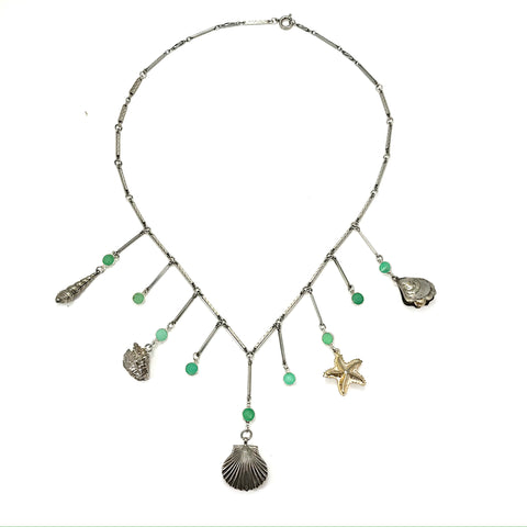 Vintage  Silver Shells Necklace with Chrysoprase