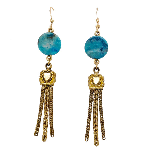 Vintage Pocket Watch Fob Tassel Earrings