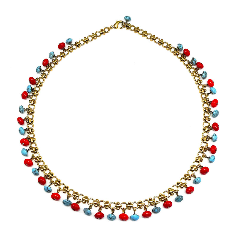 Turquoise and Red Vintage Glass Buttons Necklace