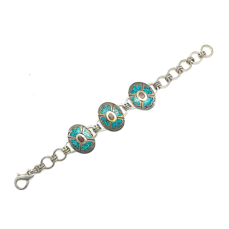 Vintage Sterling and Turquoise Concho Bracelet