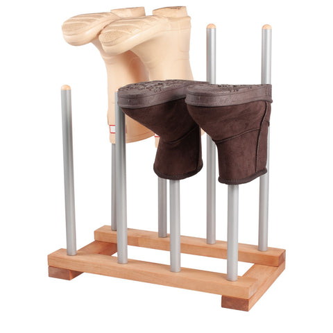 Modern Boot Rack - 4 Pairs (Birch & Steel)