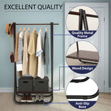 Garment Rack with Wood Storage Shelf