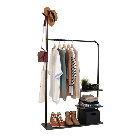 Garment Rack with 3-Tier Wood Storage Shelves
