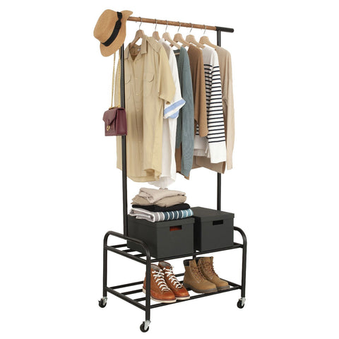 Garment Rack on Wheels with 2 Tier Storage Shelves