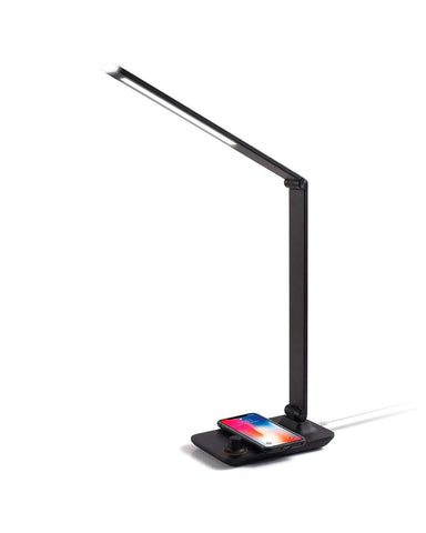 Aluminum LED Desk Lamp w/Wireless Charging-Black