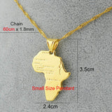 Africa Map Pendant Necklace for Women/Men,Silver/Gold Plated Ethiopian