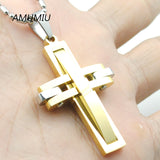 Metal stainless steel Cross Pendant Necklace for men women Jewelry 2017