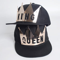 Bling street fashion Plate Rivets Crown King Queen hip hop hat B1