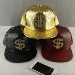 Faux Leather Baseball Caps Gold Dollar $ Logo Unisex