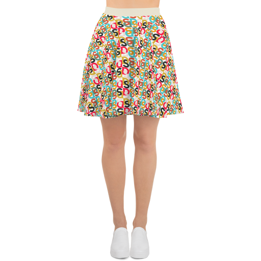 "DISCOSEXUAL ""Bi-Couleur Monogram"" Multicolore Skater Skirt"