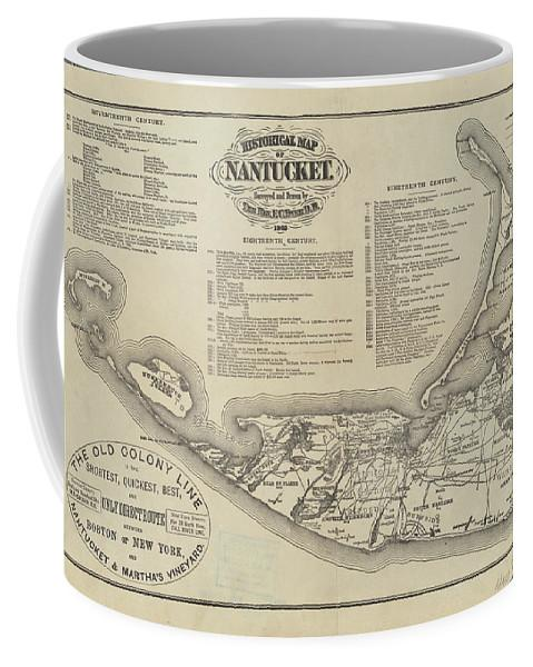 1869 Historical Map of Nantucket Massachusetts Coffee Mug Mug NB Designs Small (11 oz.)