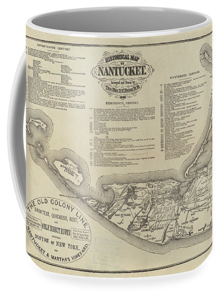 1869 Historical Map of Nantucket Massachusetts Coffee Mug