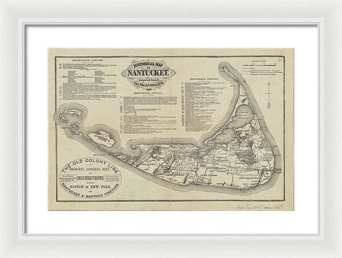 1869 Historical Map Of Nantucket - Framed Print