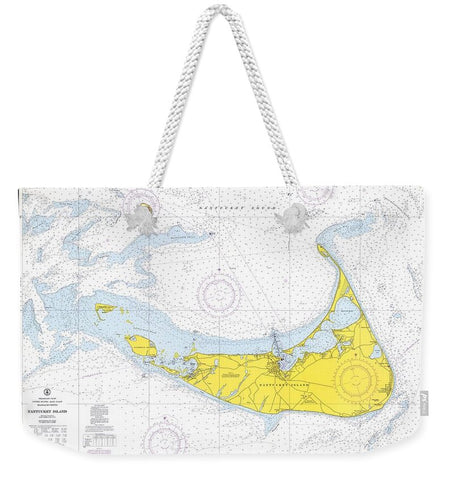 1968 Historical Nautical Chart Of Nantucket Island - Weekender Tote Bag