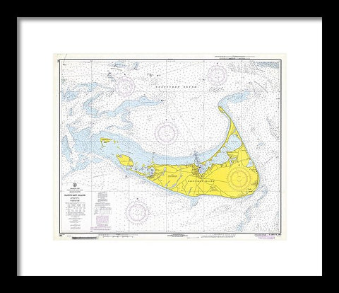 1968 Historical Nautical Chart Of Nantucket Island - Framed Print