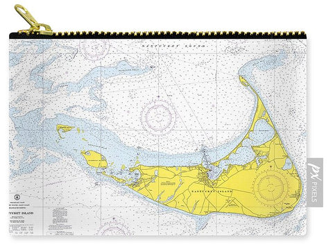 1968 Historical Nautical Chart Of Nantucket Island - Carry-All Pouch