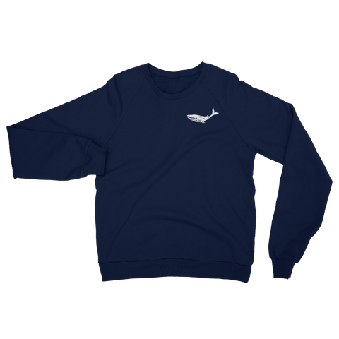 Whale Sweatshirt - Distressed Unisex Nautical Fleece Raglan Sweatshirt