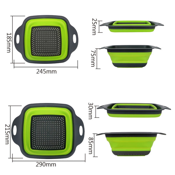 Square Collapsible Colander Set - Green - Go Go Kitchen Gadgets