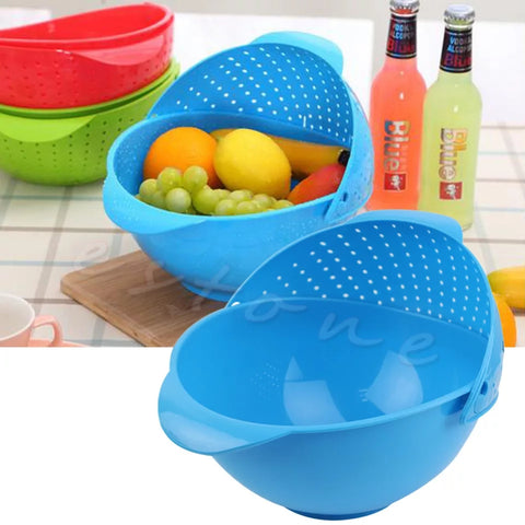 Wash and Drain Produce Bowl - Dark Blue - Go Go Kitchen Gadgets