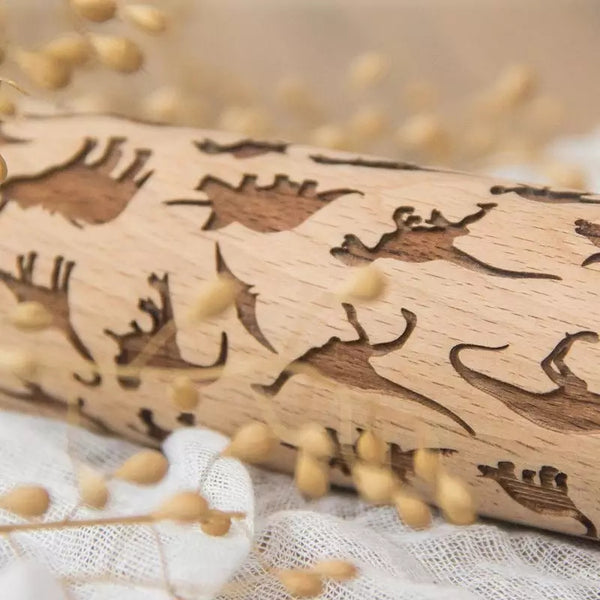 Embossing Wood Rolling Pin - Dinosaurs - Go Go Kitchen Gadgets