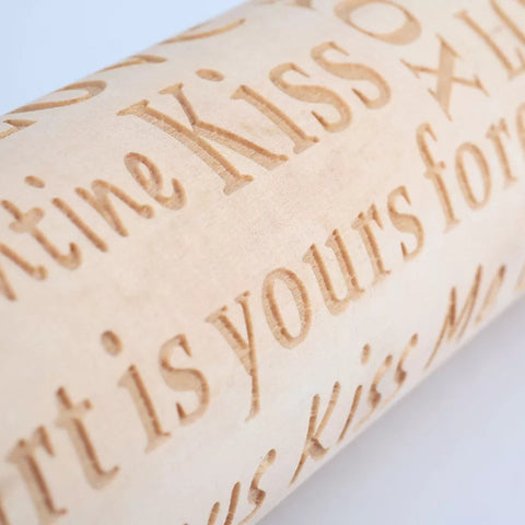 Embossing Wood Rolling Pin - Kiss Me - Go Go Kitchen Gadgets