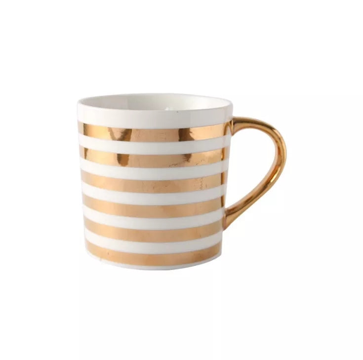 Gold Striped Coffee Cup - Go Go Kitchen Gadgets