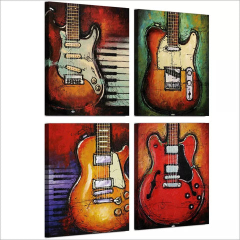 "4 Piece Framed Canvas Print Set - 12"" x 16"" Guitars and Music - Go Go Kitchen Gadgets"