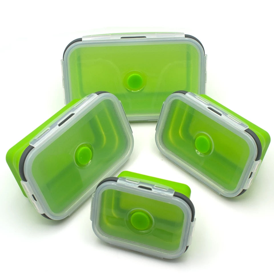 4 Piece Collapsible Container Set - Bright Green - Go Go Kitchen Gadgets