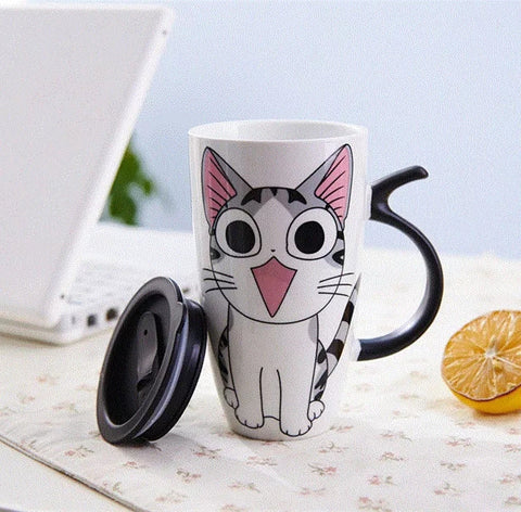 Ceramic 20 oz Coffee Cup - Cute Kitty - Go Go Kitchen Gadgets