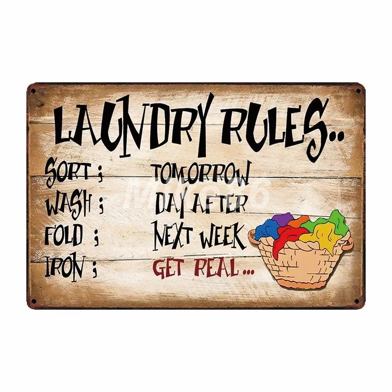 Laundry Rules Metal Sign - Go Go Kitchen Gadgets