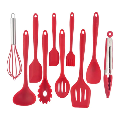 10 Piece Essential Kitchen Utensil Set - Red - Go Go Kitchen Gadgets