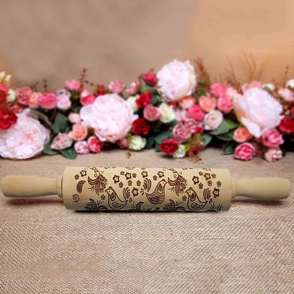 Embossing Wood Rolling Pin - Bird - Go Go Kitchen Gadgets